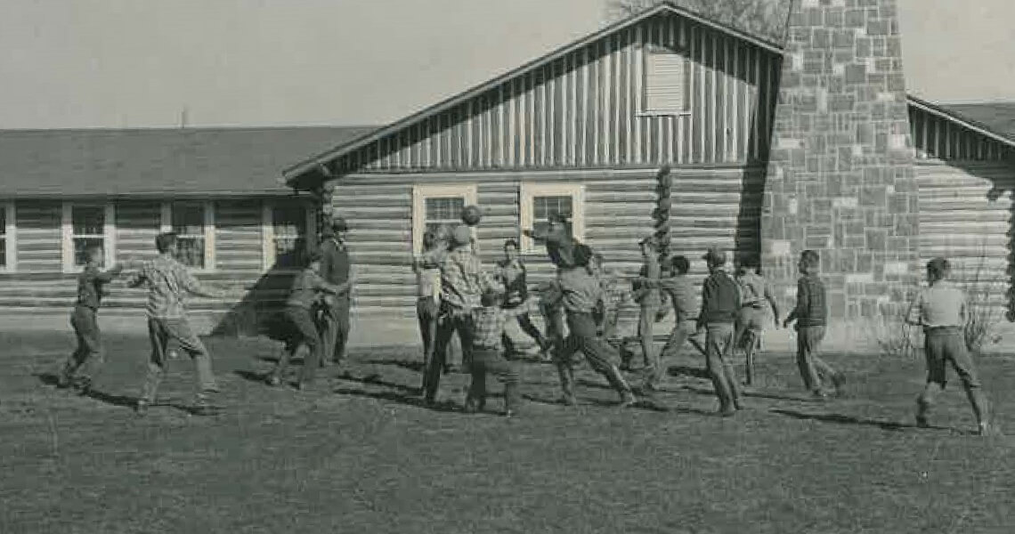 Boys Play In Front Of Farmington Cottage Mo 1950