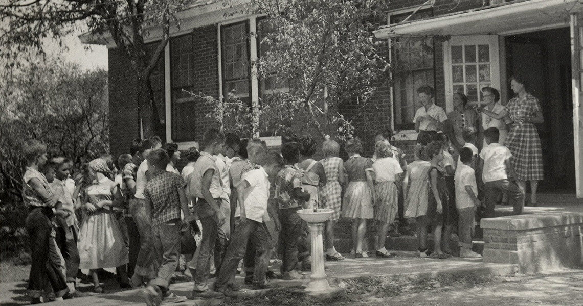 Children Line Up For The First Day Of School In Itasca Tx 1950