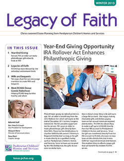 PCHAS-Legacy-of-Faith-Newsletter-WINTER-2013-Thumb
